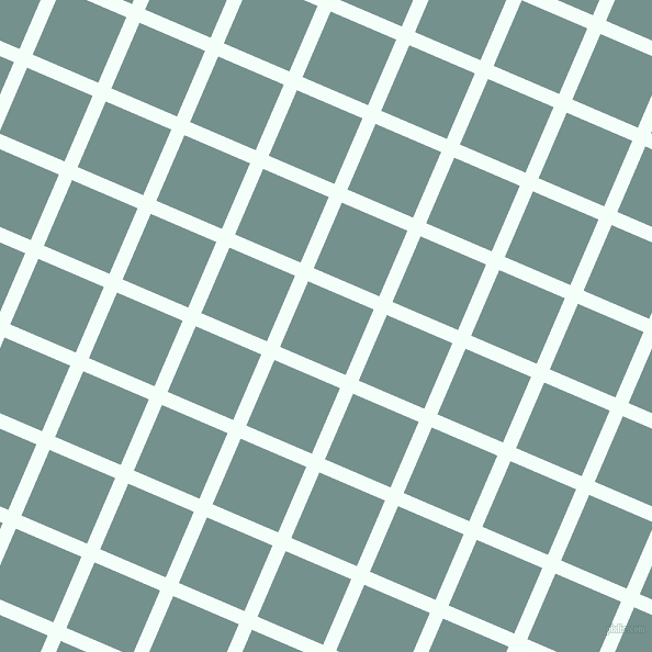 67/157 degree angle diagonal checkered chequered lines, 13 pixel lines width, 65 pixel square size, Mint Cream and Juniper plaid checkered seamless tileable