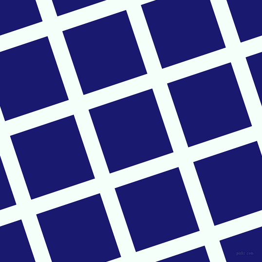 18/108 degree angle diagonal checkered chequered lines, 32 pixel lines width, 138 pixel square size, Mint Cream and Midnight Blue plaid checkered seamless tileable