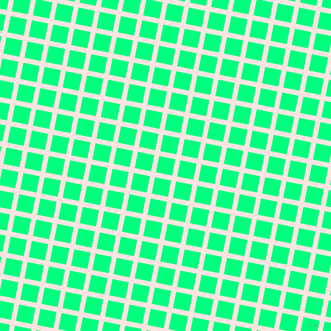 79/169 degree angle diagonal checkered chequered lines, 10 pixel lines width, 33 pixel square size, Misty Rose and Spring Green plaid checkered seamless tileable