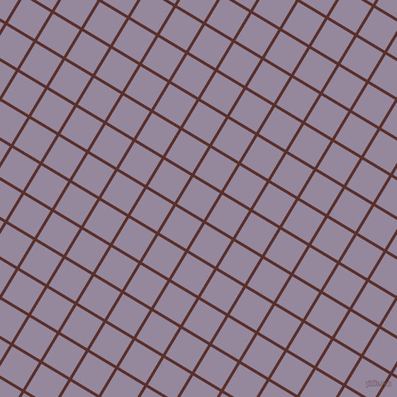 59/149 degree angle diagonal checkered chequered lines, 4 pixel line width, 44 pixel square size, Moccaccino and Amethyst Smoke plaid checkered seamless tileable