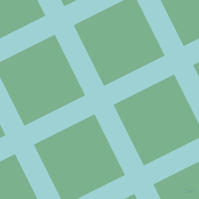 27/117 degree angle diagonal checkered chequered lines, 73 pixel line width, 233 pixel square size, Morning Glory and Bay Leaf plaid checkered seamless tileable