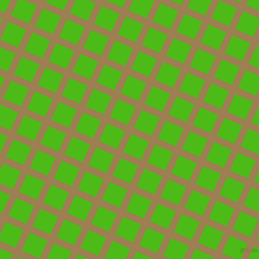 66/156 degree angle diagonal checkered chequered lines, 14 pixel line width, 40 pixel square size, Muesli and Kelly Green plaid checkered seamless tileable