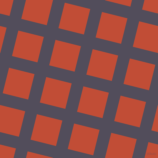 76/166 degree angle diagonal checkered chequered lines, 46 pixel lines width, 100 pixel square size, Mulled Wine and Grenadier plaid checkered seamless tileable