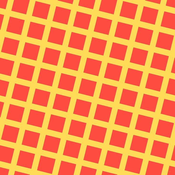 76/166 degree angle diagonal checkered chequered lines, 25 pixel line width, 64 pixel square size, Mustard and Sunset Orange plaid checkered seamless tileable