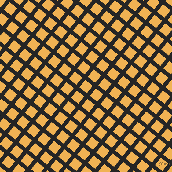 51/141 degree angle diagonal checkered chequered lines, 13 pixel line width, 31 pixel square size, Nero and Casablanca plaid checkered seamless tileable