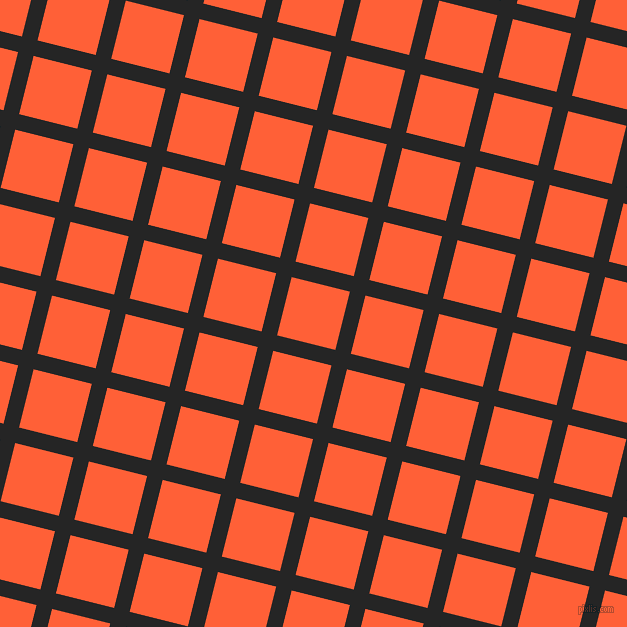 76/166 degree angle diagonal checkered chequered lines, 16 pixel line width, 60 pixel square size, Nero and Outrageous Orange plaid checkered seamless tileable