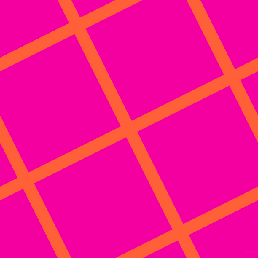 27/117 degree angle diagonal checkered chequered lines, 41 pixel line width, 348 pixel square size, Outrageous Orange and Hollywood Cerise plaid checkered seamless tileable
