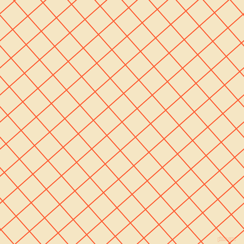 42/132 degree angle diagonal checkered chequered lines, 2 pixel lines width, 38 pixel square size, Outrageous Orange and Pipi plaid checkered seamless tileable