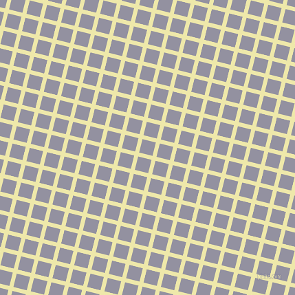 76/166 degree angle diagonal checkered chequered lines, 6 pixel line width, 20 pixel square size, Pale Goldenrod and Grey Suit plaid checkered seamless tileable