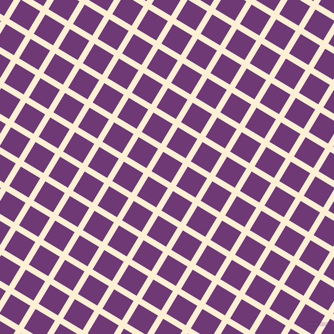 59/149 degree angle diagonal checkered chequered lines, 12 pixel lines width, 45 pixel square size, Papaya Whip and Eminence plaid checkered seamless tileable