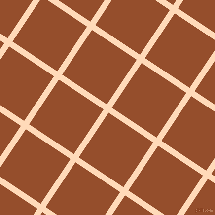 56/146 degree angle diagonal checkered chequered lines, 12 pixel line width, 109 pixel square size, Peach Puff and Alert Tan plaid checkered seamless tileable