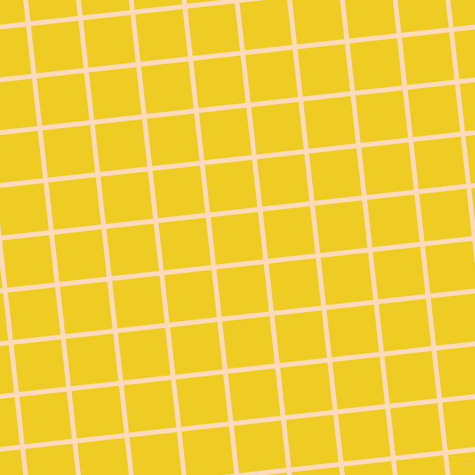 6/96 degree angle diagonal checkered chequered lines, 7 pixel lines width, 68 pixel square size, Peach Puff and Broom plaid checkered seamless tileable