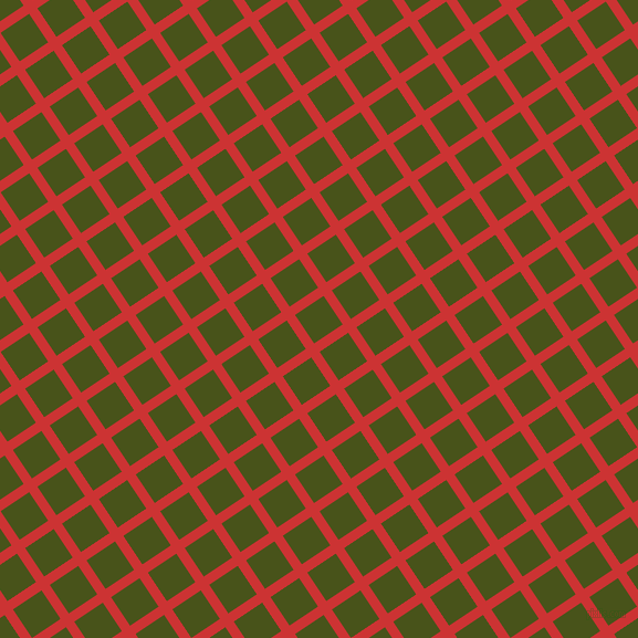 34/124 degree angle diagonal checkered chequered lines, 9 pixel lines width, 31 pixel square size, Persian Red and Verdun Green plaid checkered seamless tileable