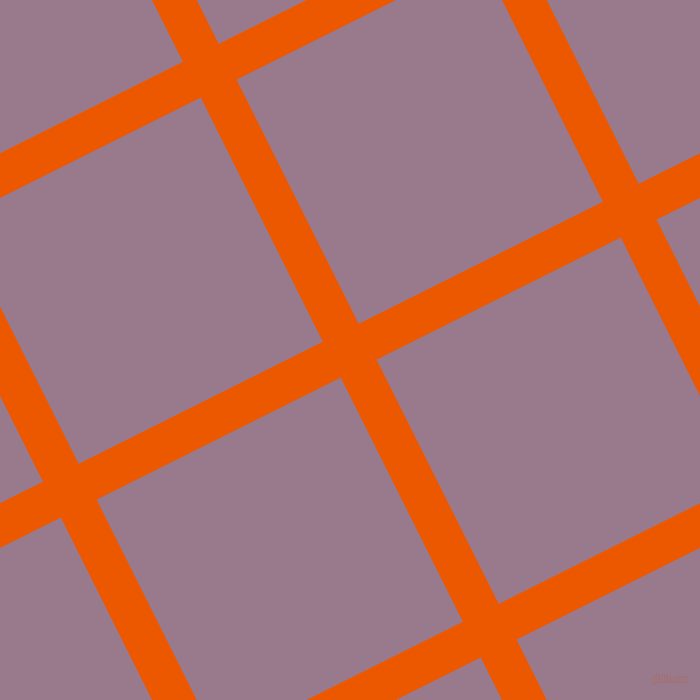 27/117 degree angle diagonal checkered chequered lines, 40 pixel lines width, 273 pixel square size, Persimmon and Mountbatten Pink plaid checkered seamless tileable