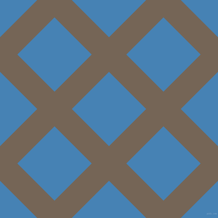 45/135 degree angle diagonal checkered chequered lines, 84 pixel line width, 180 pixel square size, Pine Cone and Steel Blue plaid checkered seamless tileable