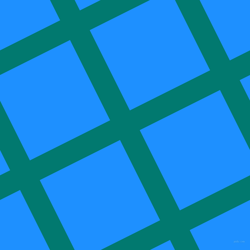 27/117 degree angle diagonal checkered chequered lines, 70 pixel lines width, 285 pixel square size, Pine Green and Dodger Blue plaid checkered seamless tileable