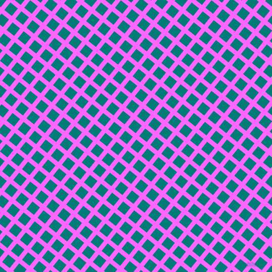 51/141 degree angle diagonal checkered chequered lines, 9 pixel line width, 19 pixel square size, Pink Flamingo and Surfie Green plaid checkered seamless tileable