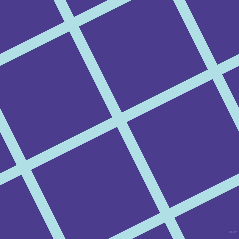 27/117 degree angle diagonal checkered chequered lines, 36 pixel line width, 323 pixel square size, Powder Blue and Blue Gem plaid checkered seamless tileable