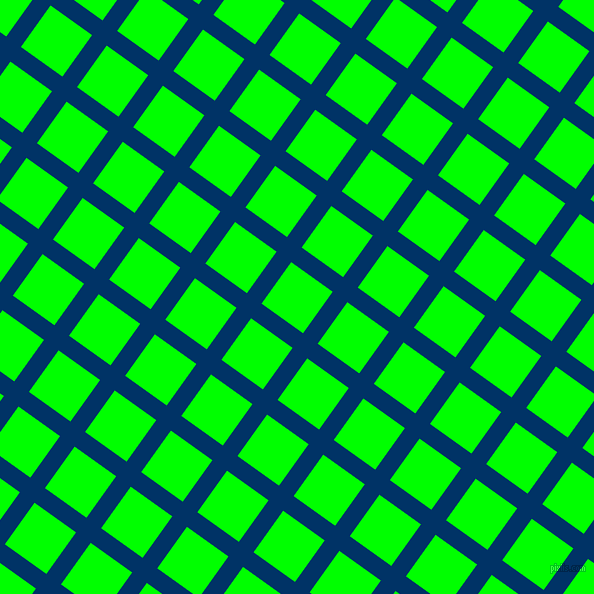 54/144 degree angle diagonal checkered chequered lines, 18 pixel line width, 51 pixel square size, Prussian Blue and Lime plaid checkered seamless tileable