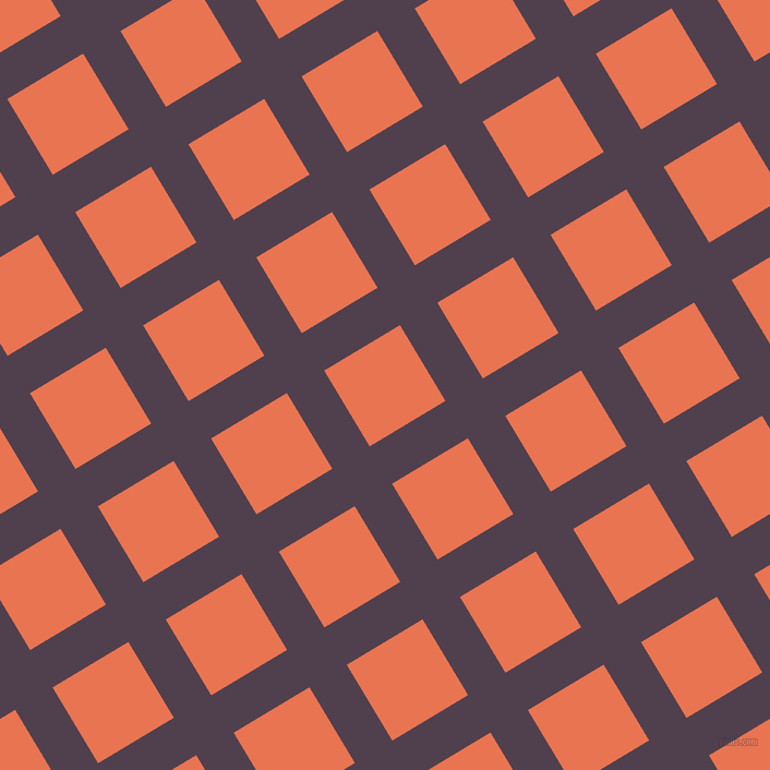 31/121 degree angle diagonal checkered chequered lines, 40 pixel line width, 81 pixel square size, Purple Taupe and Burnt Sienna plaid checkered seamless tileable
