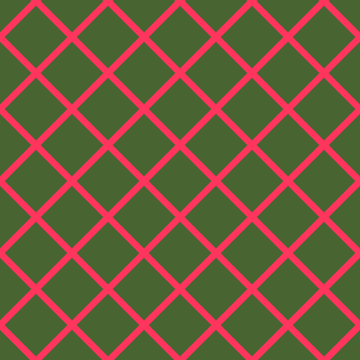 45/135 degree angle diagonal checkered chequered lines, 13 pixel line width, 87 pixel square size, Radical Red and Dell plaid checkered seamless tileable