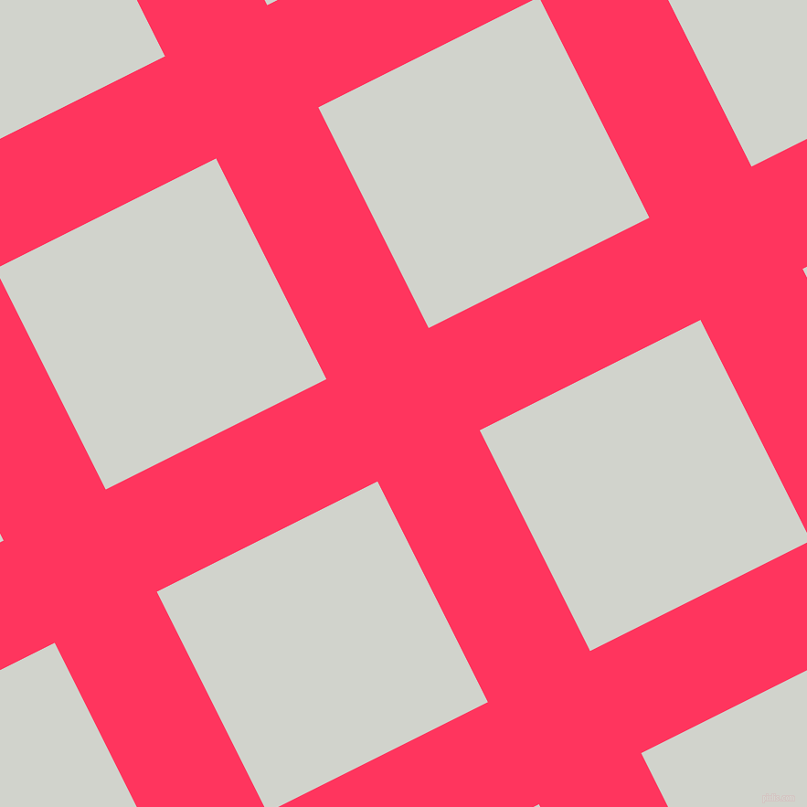27/117 degree angle diagonal checkered chequered lines, 125 pixel line width, 270 pixel square size, Radical Red and Grey Nurse plaid checkered seamless tileable