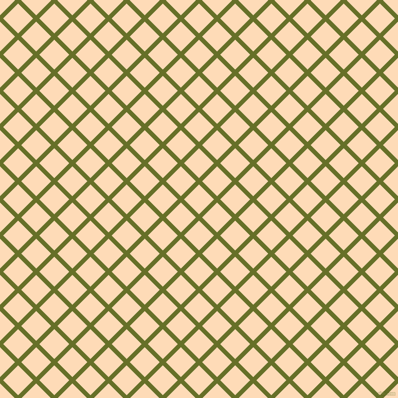 45/135 degree angle diagonal checkered chequered lines, 9 pixel line width, 43 pixel square size, Rain Forest and Sandy Beach plaid checkered seamless tileable