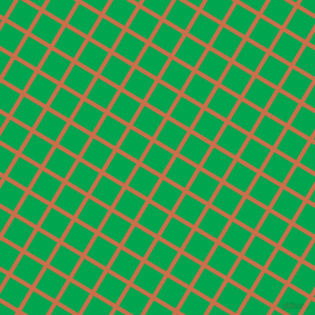 59/149 degree angle diagonal checkered chequered lines, 6 pixel lines width, 32 pixel square size, Red Damask and Pigment Green plaid checkered seamless tileable