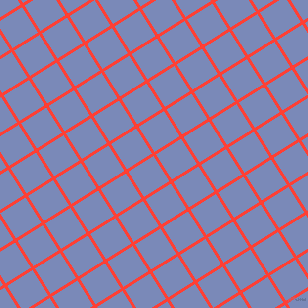 32/122 degree angle diagonal checkered chequered lines, 6 pixel line width, 60 pixel square size, Red Orange and Wild Blue Yonder plaid checkered seamless tileable