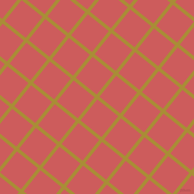 51/141 degree angle diagonal checkered chequered lines, 12 pixel lines width, 94 pixel square size, Reef Gold and Indian Red plaid checkered seamless tileable