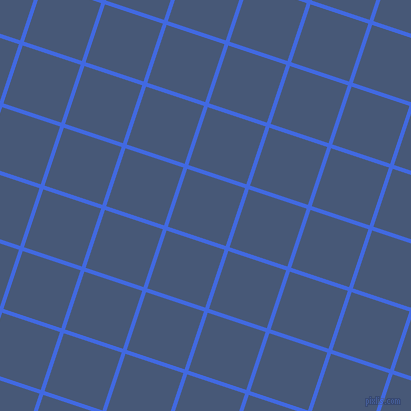72/162 degree angle diagonal checkered chequered lines, 4 pixel line width, 61 pixel square size, Royal Blue and Chambray plaid checkered seamless tileable