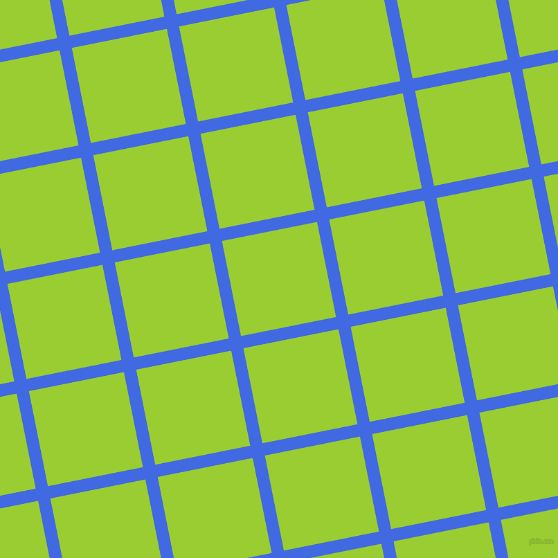 11/101 degree angle diagonal checkered chequered lines, 18 pixel lines width, 140 pixel square size, Royal Blue and Yellow Green plaid checkered seamless tileable