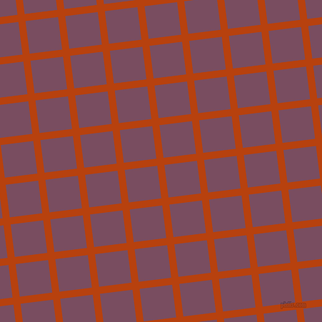 7/97 degree angle diagonal checkered chequered lines, 10 pixel line width, 46 pixel square size, Rust and Cosmic plaid checkered seamless tileable
