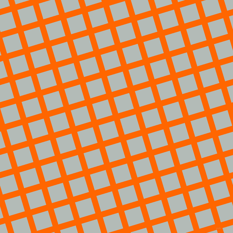 17/107 degree angle diagonal checkered chequered lines, 20 pixel lines width, 55 pixel square size, Safety Orange and Loblolly plaid checkered seamless tileable