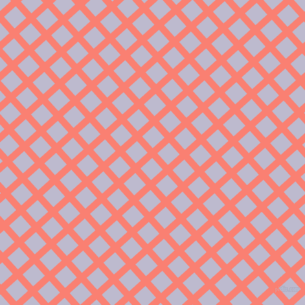42/132 degree angle diagonal checkered chequered lines, 10 pixel line width, 23 pixel square size, Salmon and Blue Haze plaid checkered seamless tileable