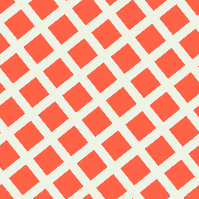 39/129 degree angle diagonal checkered chequered lines, 30 pixel line width, 73 pixel square size, Saltpan and Tomato plaid checkered seamless tileable