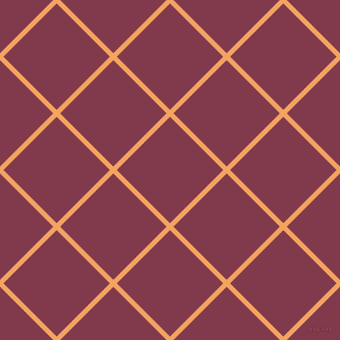 45/135 degree angle diagonal checkered chequered lines, 7 pixel line width, 108 pixel square size, Sandy Brown and Camelot plaid checkered seamless tileable