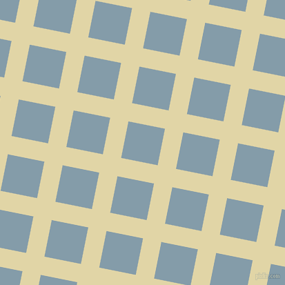79/169 degree angle diagonal checkered chequered lines, 27 pixel lines width, 54 pixel square size, Sapling and Bali Hai plaid checkered seamless tileable