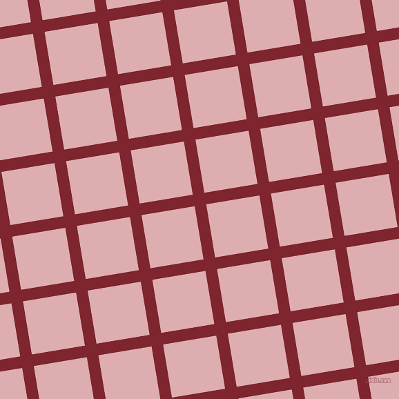 9/99 degree angle diagonal checkered chequered lines, 17 pixel lines width, 78 pixel square size, Scarlett and Pale Chestnut plaid checkered seamless tileable