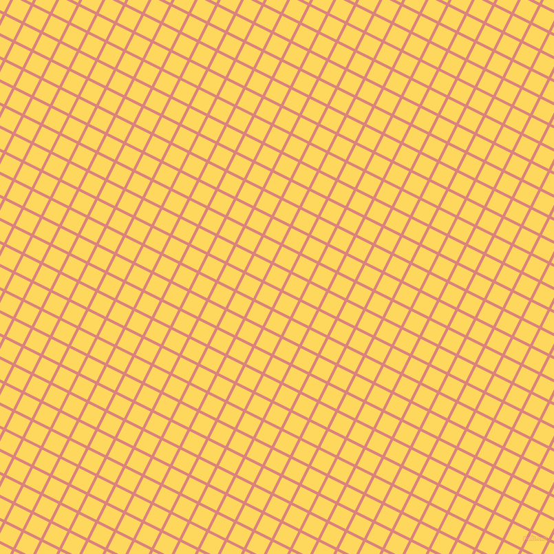 63/153 degree angle diagonal checkered chequered lines, 4 pixel line width, 26 pixel square size, Sea Pink and Dandelion plaid checkered seamless tileable