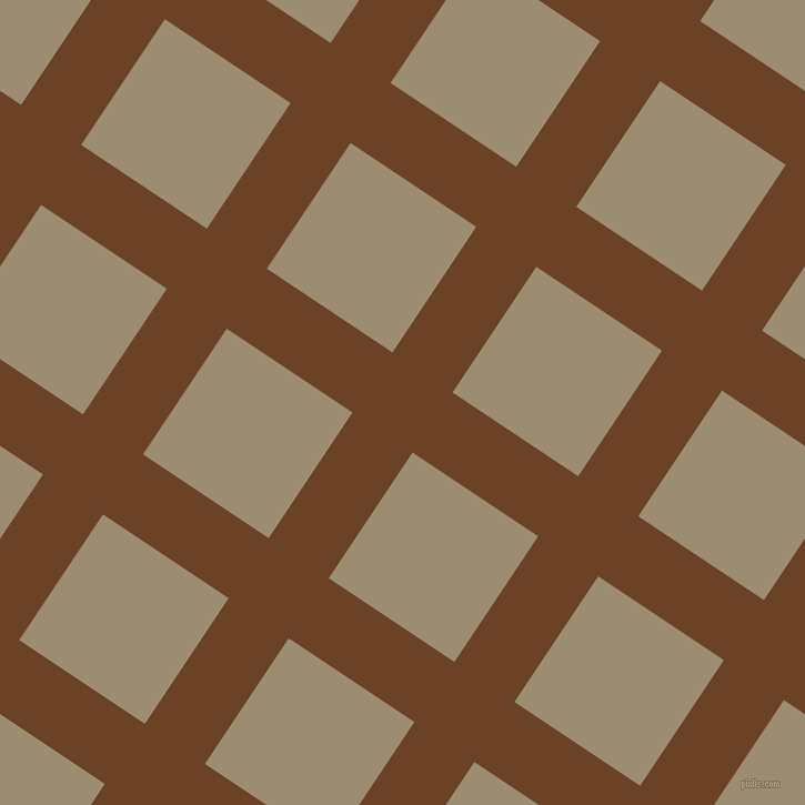 56/146 degree angle diagonal checkered chequered lines, 65 pixel line width, 136 pixel square size, Semi-Sweet Chocolate and Pale Oyster plaid checkered seamless tileable