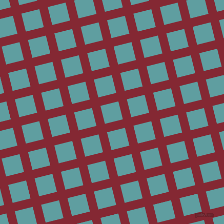 14/104 degree angle diagonal checkered chequered lines, 17 pixel lines width, 36 pixel square size, Shiraz and Cadet Blue plaid checkered seamless tileable