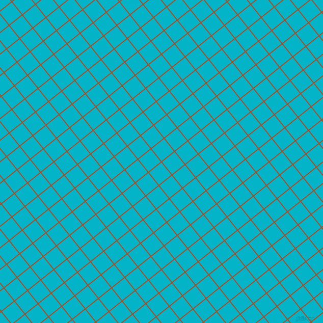 39/129 degree angle diagonal checkered chequered lines, 2 pixel line width, 31 pixel square size, Sienna and Iris Blue plaid checkered seamless tileable