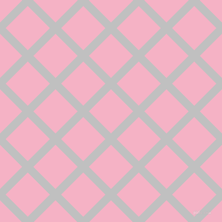 45/135 degree angle diagonal checkered chequered lines, 16 pixel line width, 63 pixel square size, Silver and Cupid plaid checkered seamless tileable