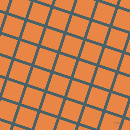 72/162 degree angle diagonal checkered chequered lines, 10 pixel lines width, 62 pixel square size, Smalt Blue and Flamenco plaid checkered seamless tileable