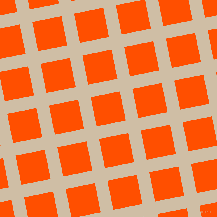 11/101 degree angle diagonal checkered chequered lines, 44 pixel lines width, 102 pixel square size, Soft Amber and International Orange plaid checkered seamless tileable