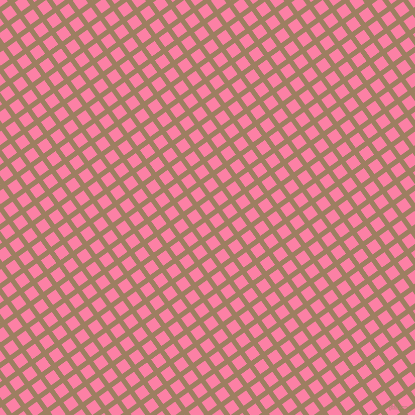 36/126 degree angle diagonal checkered chequered lines, 10 pixel lines width, 22 pixel square size, Sorrell Brown and Tickle Me Pink plaid checkered seamless tileable