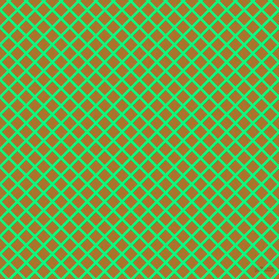 45/135 degree angle diagonal checkered chequered lines, 5 pixel lines width, 19 pixel square size, Spring Green and Hot Toddy plaid checkered seamless tileable