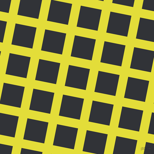 79/169 degree angle diagonal checkered chequered lines, 31 pixel line width, 75 pixel square size, Starship and Ebony plaid checkered seamless tileable