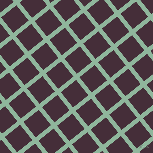 39/129 degree angle diagonal checkered chequered lines, 15 pixel lines width, 68 pixel square size, Summer Green and Barossa plaid checkered seamless tileable